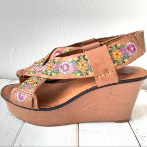 Lucky Brand Shoes - LUCKY BRAND KOKO EMBROIDERED SHOES SANDALS WEDGES